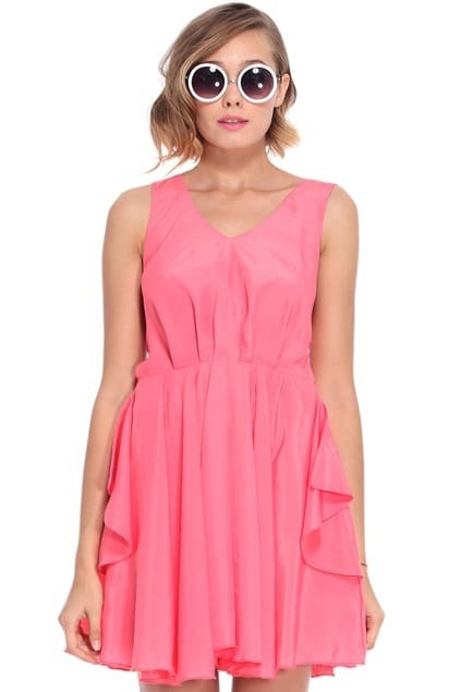 Cut-out Back Rose Pleated Dress