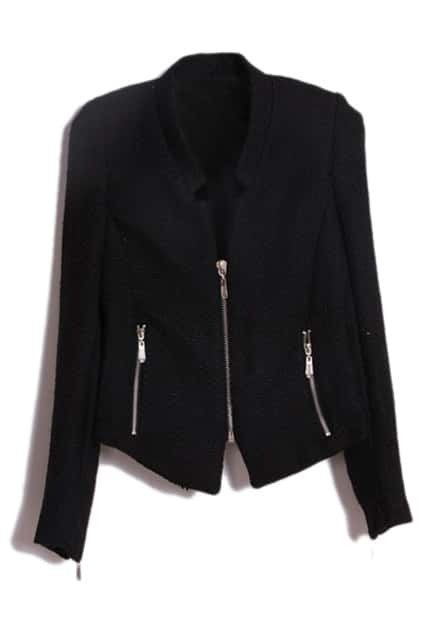Zippered Slim Black Coat