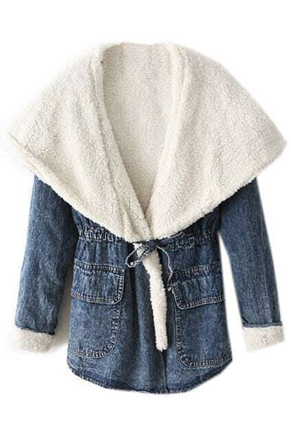 Hooded Selt-tied Elastic Buttoned Blue Coat