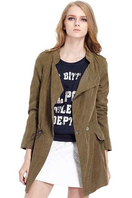 Lapel Self-tied Elastic Brown Trench Coat