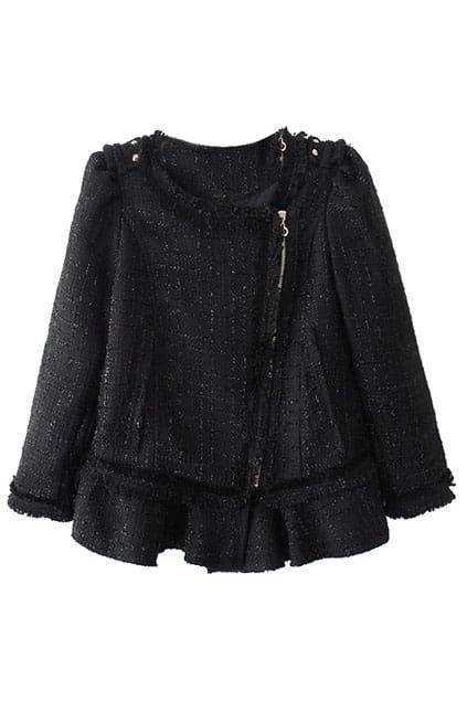 Ruffle Hem Black Woolen Coat