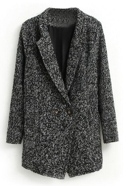 Double-breasted Black Woolen Coat