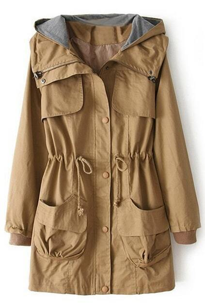 Hooded Drawstring Yellow Trench Coat