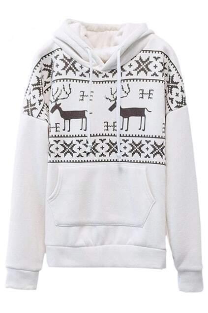 Deers Print Pocketed Cream Hoodie