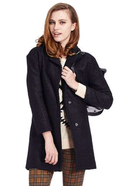 Buttoned Sheer Black Woolen Coat