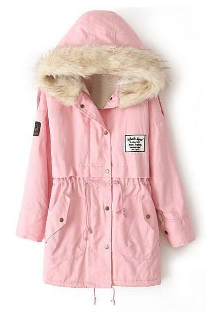 Drawstring Hooded Long Sleeves Pink Coat