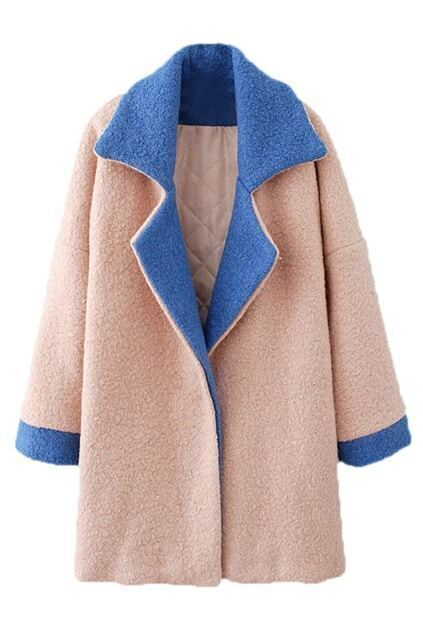 Romwe Color Block Long-sleeved Pink Woolen Coat
