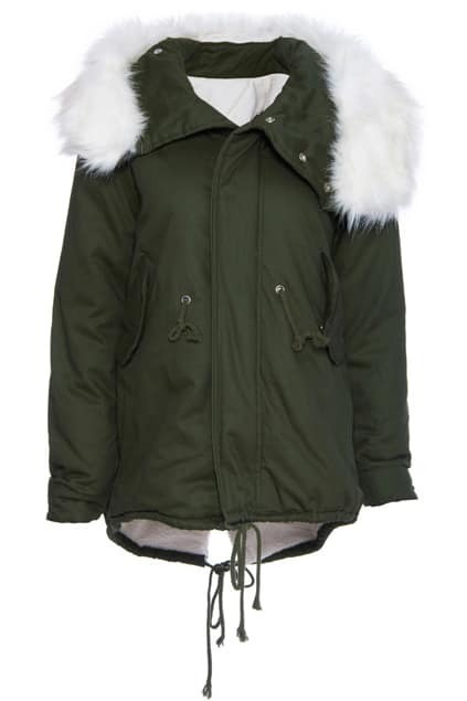 ROMWE Hooded Self-tied Army-green Coat