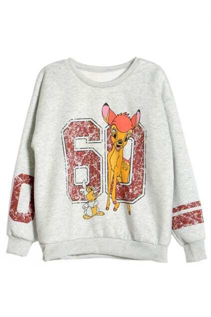 ROMWE 60 & Deer Print Contrast Trimming White Sweatshirt
