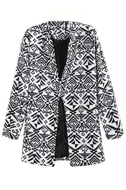 Romwe Aztec Long-sleeved White Trench Coat