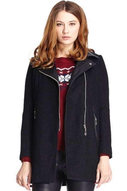 Romwe Panel Faux Leather Black Woolen Coat
