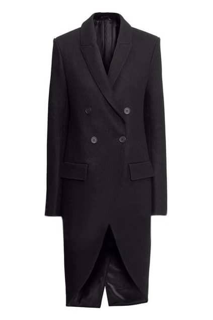 Romwe Double-breasted Tuxedo-style Extra-long Blue Coat