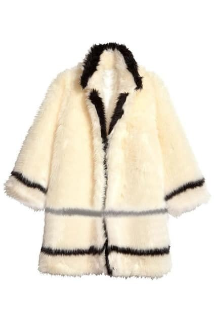 Romwe Striped Half Sleeve Faux Fur Cream Coat