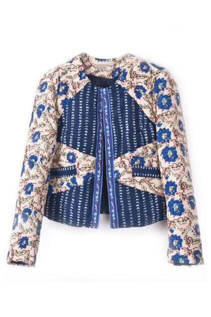 ROMWE Royal Floral Print Pocketed Long Sleeves Jacket