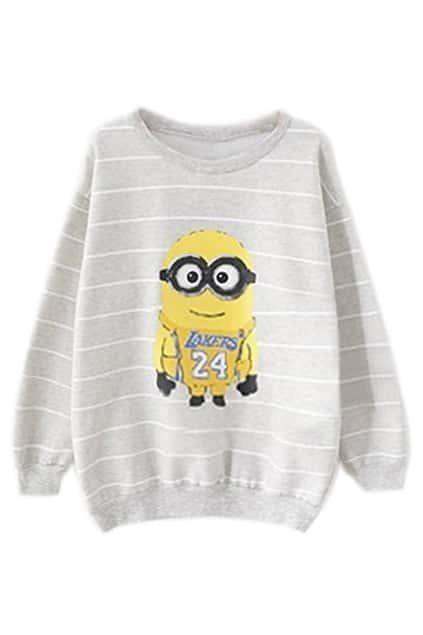 ROMWE Striped Minions Print Grey Sweatshirt
