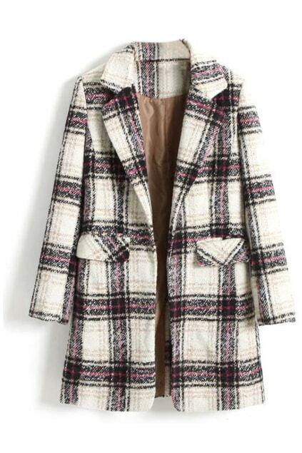 ROMWE Lapel Check Print Long Sleeve Coat