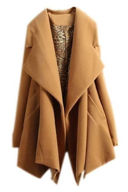 ROMWE Asymmetric Draped Pleated Khaki Coat