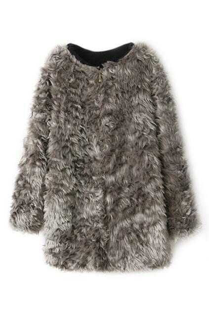 ROMWE Zippered Furry Grey Coat