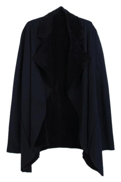 ROMWE Lapels Asymmetric Black Coat