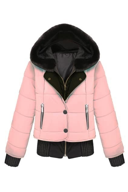ROMWE PanelFaux Fur Hooded Single-breasted Pink Down Coat