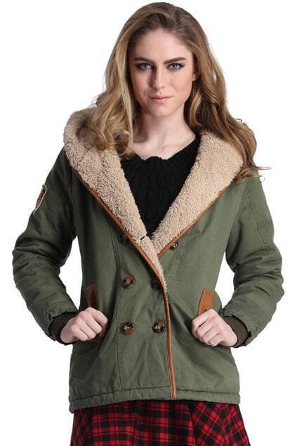 ROMWE Double-breasted Panel Faux Leather Hooded Army-green Coat