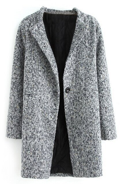 ROMWE Pocketed Buttoned Grey Coat