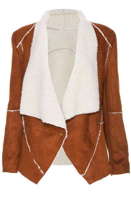 ROMWE Soft Retro Long-sleeved Brown Coat