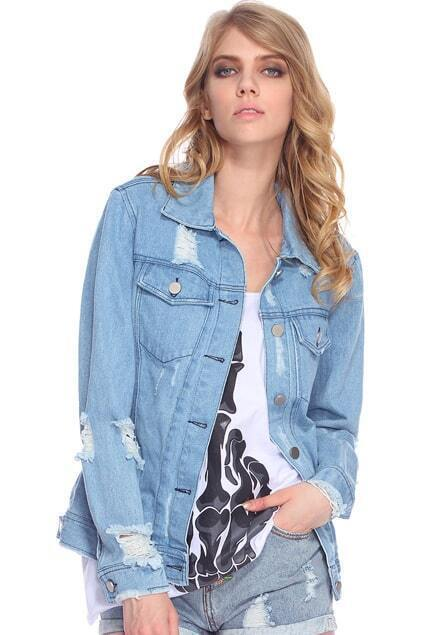 Distressed Light-Blue Denim Jacket