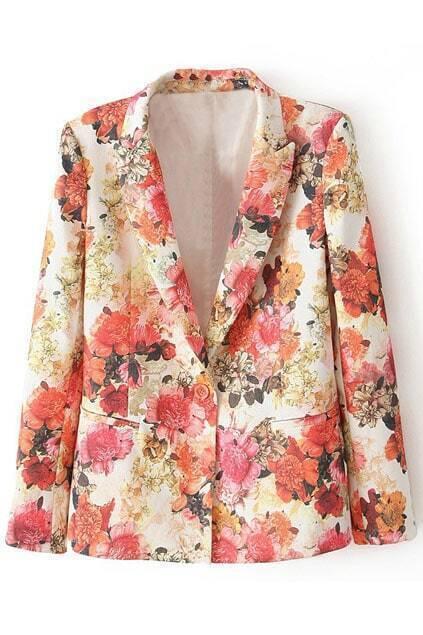 Lapels Pocketed Floral Print Blazer