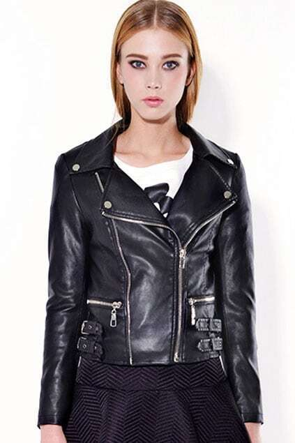 Zippered Belted Black Fake Leather Jacket