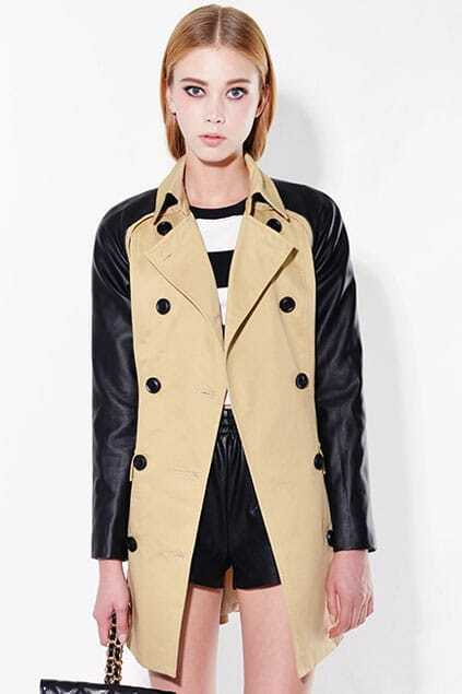 Double-breasted Belted Khaki Panel Trench Coat