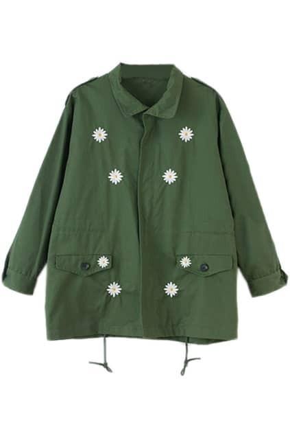 Daisy Embroidery Green Oversized Coat