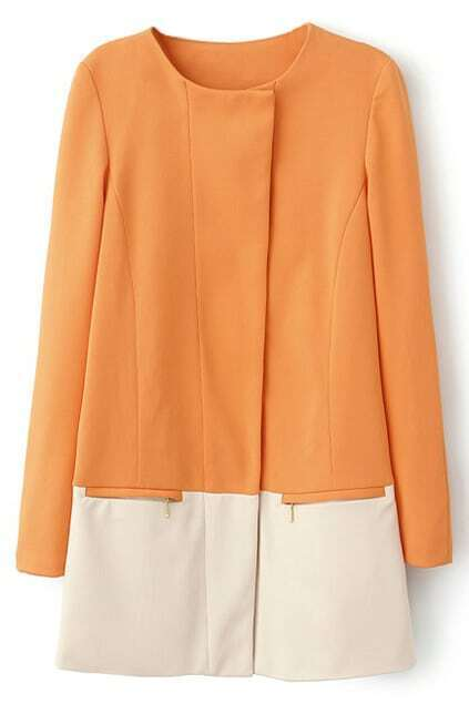 Color Block Zippered Slim Orange Coat