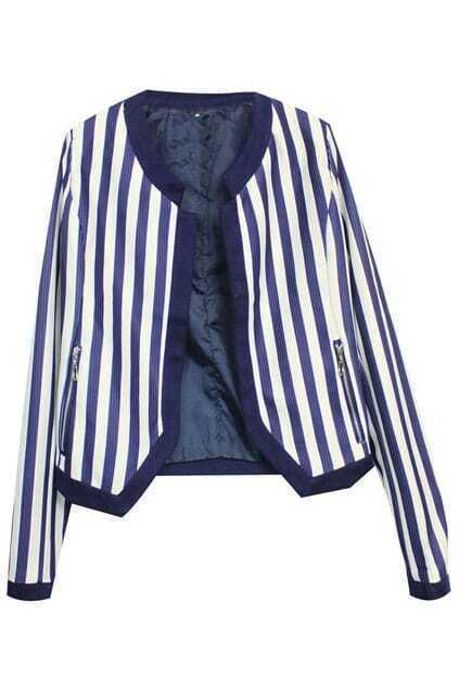 Stripe Zippered Pocket Blue Coat