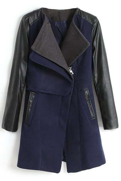 Montage PU Sleeves Dark Blue Coat