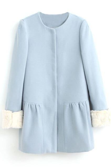 ROMWE Faux Fur Cuffs Blue Woolen Coat