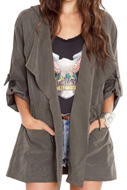 ROMWE Rolled-up Sleeves Drawstring Hooded Grey Coat