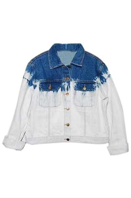 Buttoned Loose Blue-white Coat