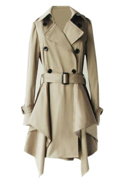 Lapel Buttoned Belted Asymmetric Khaki Trench Coat