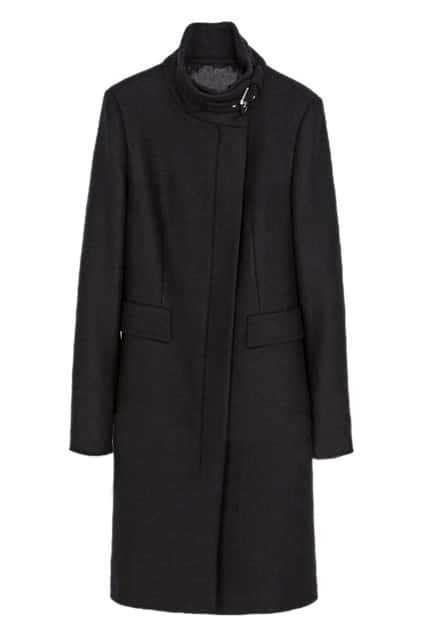 Buckled Slim Sheer Black Trench Coat