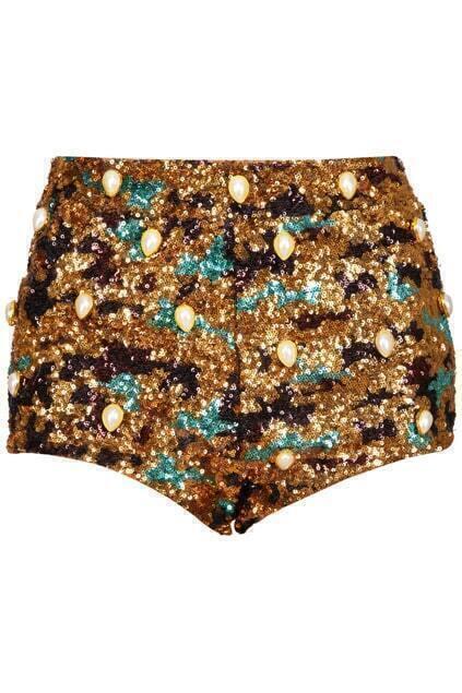 Golden Sequins Embellished Black Shorts