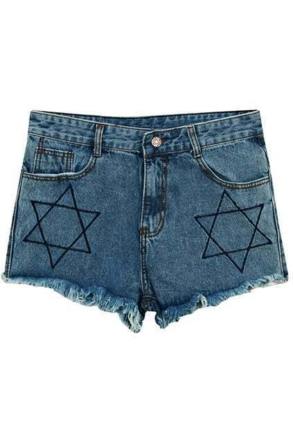 Five Stars Embroidered Blue Shorts