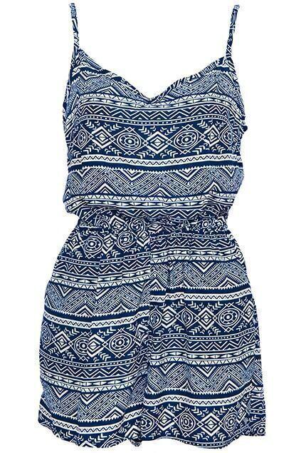 Retro Ethnic Print Camisole Blue Playsuit