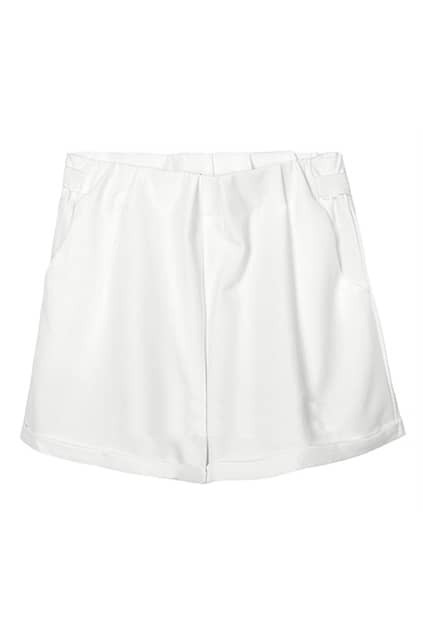 Rolled Cuffs White Shorts