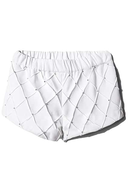 Diamante Rhombus White Shorts
