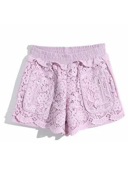 Dual-tone Purple Lace Shorts