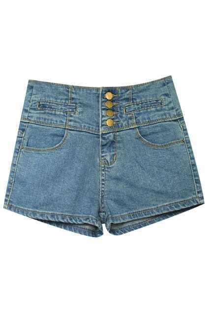 High Waist Riveted Denim Shorts