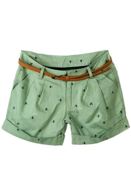 Cat Print Belted Green Shorts
