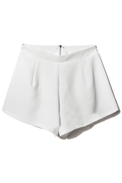 Back Zipper High Waist White Shorts