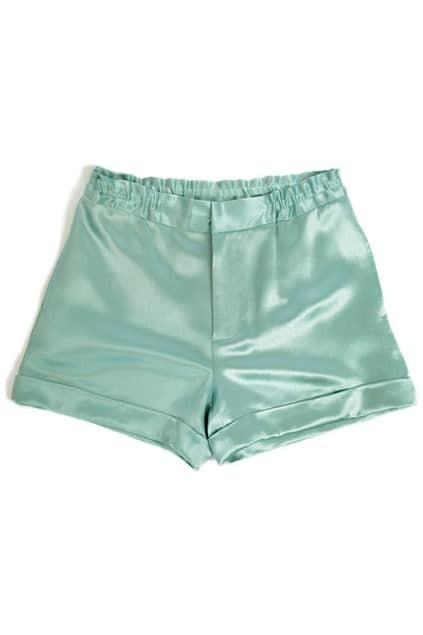 Rolled Cuffs Green Shorts